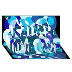 Blue abstraction Laugh Live Love 3D Greeting Card (8x4)