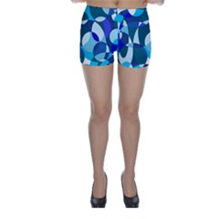 Blue abstraction Skinny Shorts