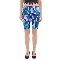 Blue Abstraction Yoga Cropped Leggings