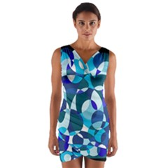 Blue abstraction Wrap Front Bodycon Dress