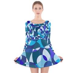 Blue abstraction Long Sleeve Velvet Skater Dress