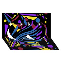 Optimistic abstraction Twin Hearts 3D Greeting Card (8x4)