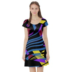 Optimistic abstraction Short Sleeve Skater Dress