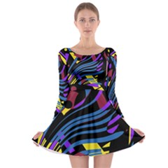 Optimistic abstraction Long Sleeve Skater Dress