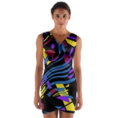 Optimistic abstraction Wrap Front Bodycon Dress