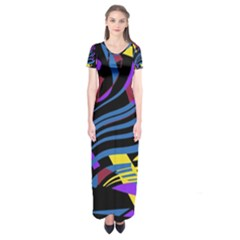Optimistic abstraction Short Sleeve Maxi Dress