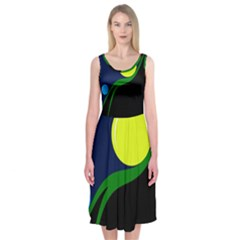 Falling  ball Midi Sleeveless Dress
