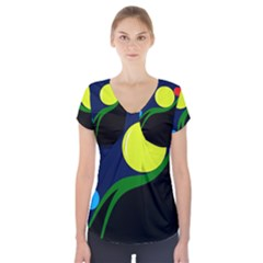 Falling  ball Short Sleeve Front Detail Top