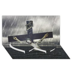 Jesus On The Cross At The Sea Twin Heart Bottom 3d Greeting Card (8x4)