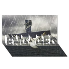 Jesus On The Cross At The Sea ENGAGED 3D Greeting Card (8x4)