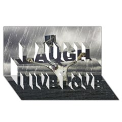 Jesus On The Cross At The Sea Laugh Live Love 3d Greeting Card (8x4)