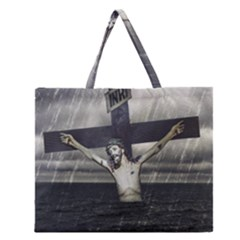 Jesus On The Cross At The Sea Zipper Large Tote Bag