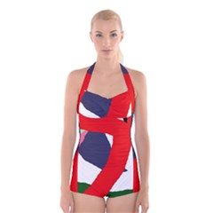 Beautiful abstraction Boyleg Halter Swimsuit