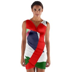 Beautiful Abstraction Wrap Front Bodycon Dress