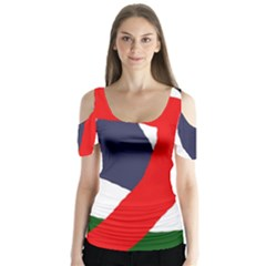 Beautiful abstraction Butterfly Sleeve Cutout Tee