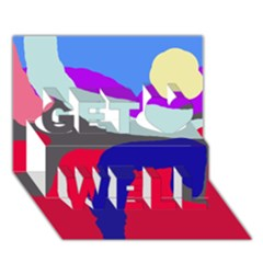 Crazy abstraction Get Well 3D Greeting Card (7x5)