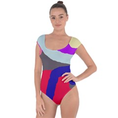 Crazy abstraction Short Sleeve Leotard