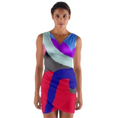 Crazy abstraction Wrap Front Bodycon Dress