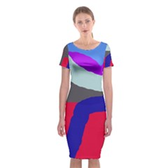 Crazy abstraction Classic Short Sleeve Midi Dress