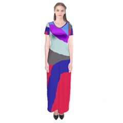 Crazy Abstraction Short Sleeve Maxi Dress