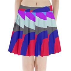 Crazy Abstraction Pleated Mini Mesh Skirt