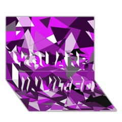 Purple broken glass YOU ARE INVITED 3D Greeting Card (7x5)