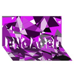 Purple broken glass ENGAGED 3D Greeting Card (8x4)