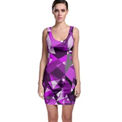Purple Broken Glass Sleeveless Bodycon Dress