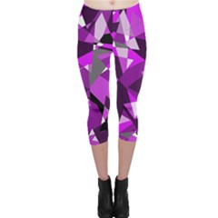 Purple broken glass Capri Leggings