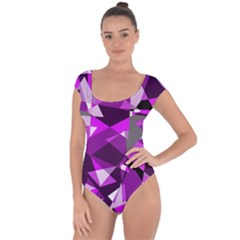 Purple broken glass Short Sleeve Leotard