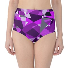 Purple broken glass High-Waist Bikini Bottoms