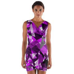 Purple Broken Glass Wrap Front Bodycon Dress