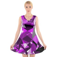 Purple Broken Glass V Neck Sleeveless Skater Dress