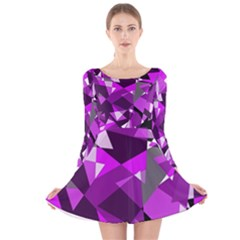 Purple broken glass Long Sleeve Velvet Skater Dress