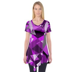Purple broken glass Short Sleeve Tunic