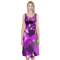 Purple broken glass Midi Sleeveless Dress