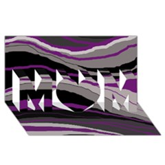 Purple and gray decorative design MOM 3D Greeting Card (8x4)