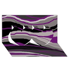 Purple and gray decorative design Twin Hearts 3D Greeting Card (8x4)