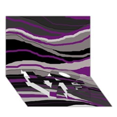 Purple and gray decorative design LOVE Bottom 3D Greeting Card (7x5)