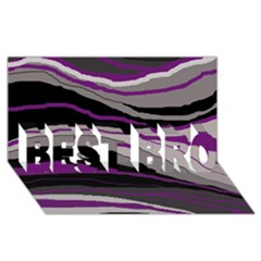 Purple and gray decorative design BEST BRO 3D Greeting Card (8x4)
