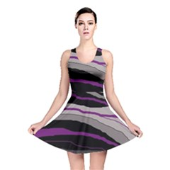 Purple And Gray Decorative Design Reversible Skater Dress