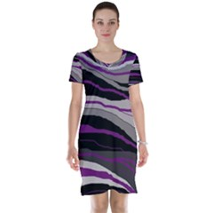 Purple and gray decorative design Short Sleeve Nightdress