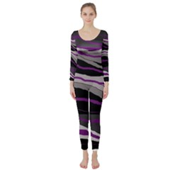 Purple and gray decorative design Long Sleeve Catsuit