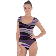Purple and gray decorative design Short Sleeve Leotard