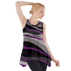 Purple And Gray Decorative Design Side Drop Tank Tunic