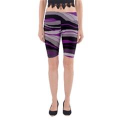 Purple and gray decorative design Yoga Cropped Leggings