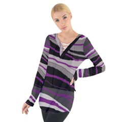 Purple and gray decorative design Women s Tie Up Tee