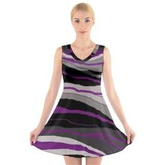 Purple and gray decorative design V-Neck Sleeveless Skater Dress