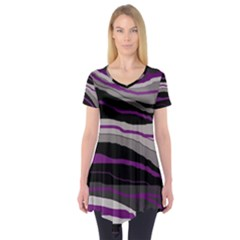 Purple And Gray Decorative Design Short Sleeve Tunic