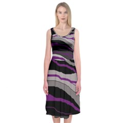 Purple and gray decorative design Midi Sleeveless Dress